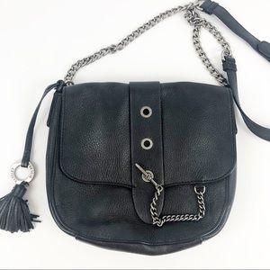 Badgley Mischka Black Leather Chain Crossbody Bag